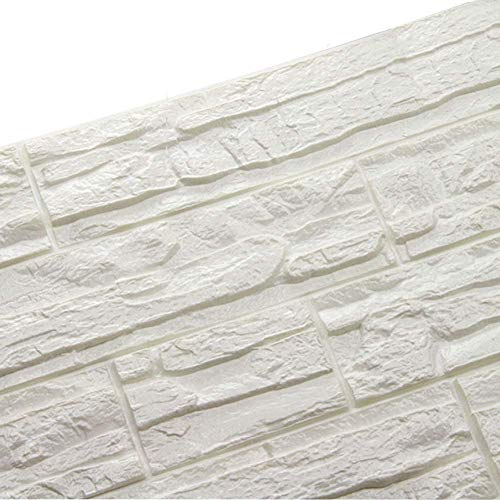 WANWEITONG 3D Papel Pintado ladrillo, PE de Espuma de 3D Wallpaper, DIY Pared Pegatinas Decoración de Pared en Relieve Piedra de ladrillo Para Casa Sala de Estar TV Fondo Pared (24 Pcs, Blanco)