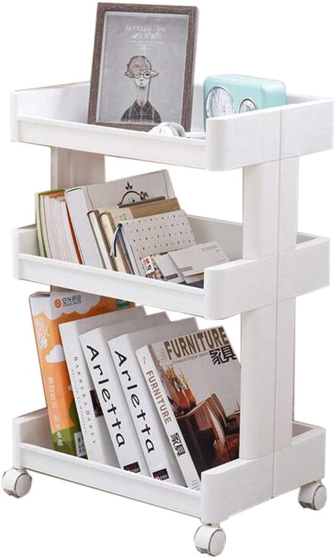 JCAFA Shelves Book Shelf Floor Multi-Layer Plastic Frame Kitchen Living Room Bedroom Bathroom Storage Rack Mobile Pulley, 3 Layers (color   White, Size   Narrow 17.71  10.23  27.55in)