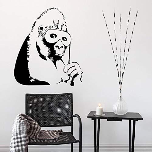 JXFM Vinyl muur applicatie Gorilla in masker muur sticker voor de Living Room Vinyl Mural Chimpanzee Street Art Wall Decoration Home Decoration K19 73X84cm