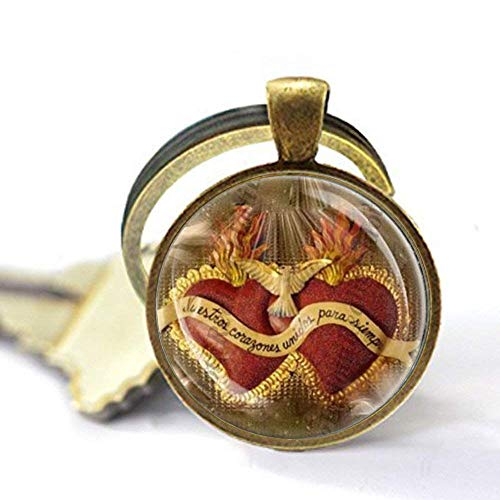 Llavero con medalla católica de corazón de Jesús, joyería religiosa cristiana