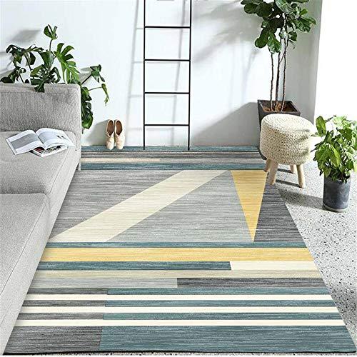 Kunsen 0 Blue geometric bedroom living room carpet soft non-slip rug 0 0 blue 140X200CM