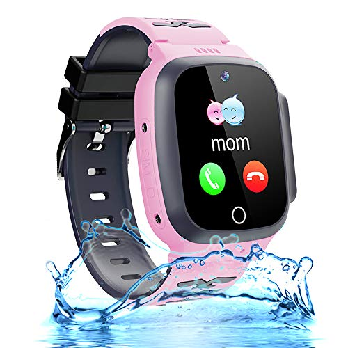 Smart Watch for Kids GPS Tracker 3-12 Boys Girls Kids Smartwatch Phone Waterproof with Two Way Call SOS Safety Zone Camera Math Game Clock Children Cellphone Watch Birthday Christmas