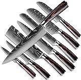Dfito Juego de Cuchillos de Cocina, 3.5-8 Pulgadas en Caja de Acero Inoxidable 440A Cuchillos Japoneses Ultra Afilados con Fundas, Juego de Cuchillos de 8 Piezas para Chefs Profesionales