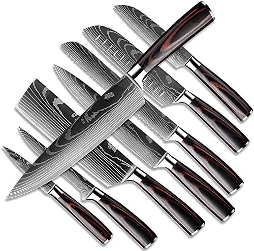 Dfito Juego de Cuchillos de Cocina, 9.5-20cm en Caja de Acero Inoxidable 440A Cuchillos Japoneses Ultra Afilados con Fundas,...