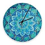 Reloj de Pared Redondo de Madera Retro Mandala Azul Flor Silencioso Sin tictac, Reloj de Pared silencioso de Cuarzo con Pilas para el hogar, Oficina, Escuela de 10 Pulgadas