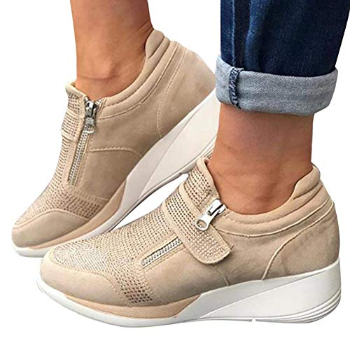 Comfy Elegant Orthopedic & Extremely Soft Shoes, Women's Breathable Lightweight Walking Sneakers, Elegant Orthopedic Shoes, Correct Your Posture Balancing Your Feet (Khaki,10)