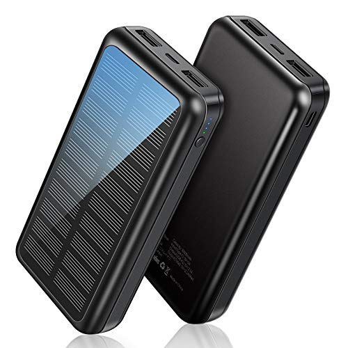 Power Bank Soxono Solar Charger 30000 mAh, Slimmest and Lightest Portable Charger,2 USB Ports High-Speed Panel External Battery for iPhone, Samsung Galaxy and More