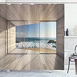 ABAKUHAUS Moderno Cortina de Baño, Ver Las Olas del mar Rocas, Material Resistente al Agua Durable Estampa Digital, 175 x 200 cm, Beige Azul Blanco