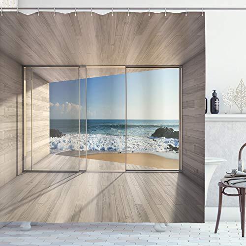 ABAKUHAUS Duschvorhang, Fenster Welsches zu Einem Paradies Strand Öffnet Klarer Sonniger Tag Ozean Strand Druck, Blickdicht aus Stoff inkl. 12 Ringe für Das Badezimmer Waschbar, 175 X 200 cm