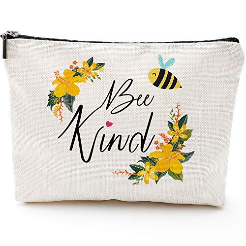 Bee Kind-Be Kind-Inspirational Gifts for Women,Beekeeper Gifts, Gift Gardener, Honeybee Gifts, Bee Bag, Honeybee Pouch Case,Bee Kind gifts, Bee Kind Makeup Bag, Cosmetic bag, Big Pencil Case