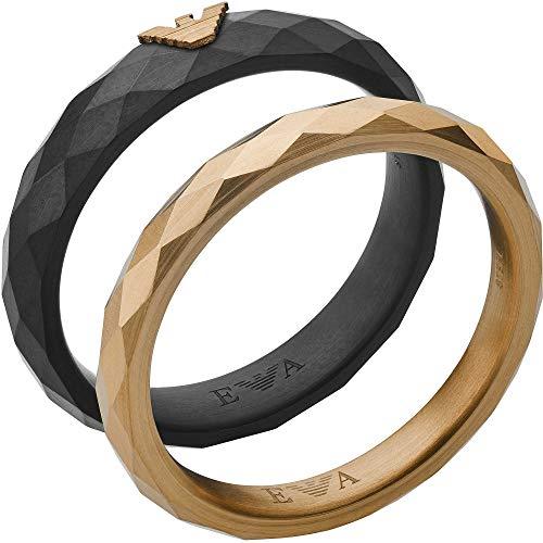 Emporio Armani EGS2767001 - Anillo de acero inoxidable para hombre, color negro