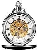 KS KSP007 - Reloj de Bolsillo Unisex Mecánico de Cuerda Manual, Caja Plateada