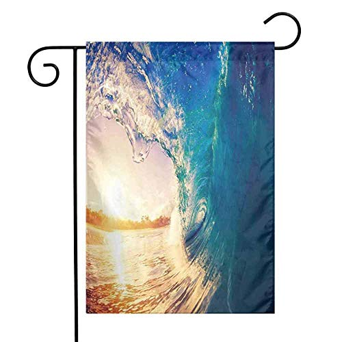 Ocean Daisies Spring House Flag FloralOcean Wave at Sunrise Reflection on Surface Tropical Trees Shoreline Summer Picture Spring House Flag Floral W12.5 x L18 inch Teal Gold