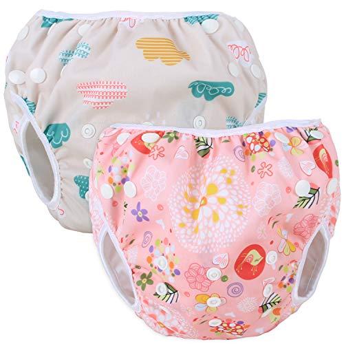 Teamoy Couches de Bain lavables pour Bébé (2 Paquets) Pantalon de Couche en Tissu pour Garçons et Filles, Cloud + Spring Blossoms