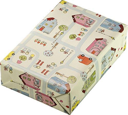Woerner 129749 Kinder Geschenkpapier Rolle, City, 50 cm x 250 m