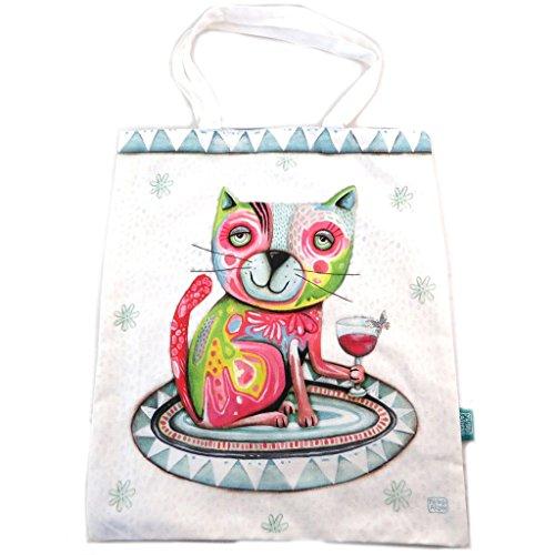 Bolsa de algodón/bolso de mano 'Allen Designs'beige multicolor (gato)- 44.5x38 cm.