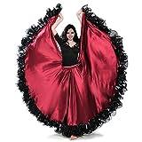 ROYAL SMEELA ATS Tribal Danza del Vientre 25 Patio Falda de la Mujer (Rojo Oscuro, Talla ?nica)