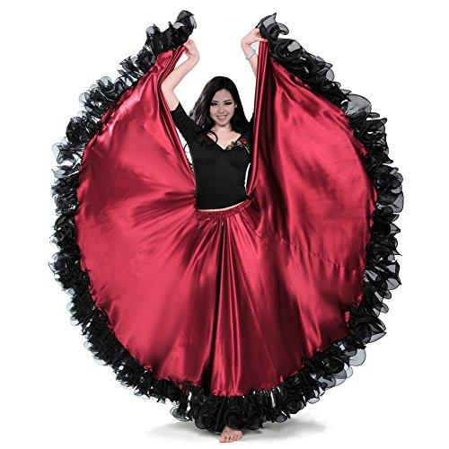 ROYAL SMEELA Frauen Bauchtanz Rock ATS 25 Yard Flamenco Rock Stammes Spitze Rüschen Große Swing Röcke Tänzerin Tanzen Kleid Kostüm Langer Rock Damen