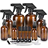 Glass Spray Bottle Kits, BonyTek Empty 4 10 ml Roller Bottles, 8 Amber Essential Oil Bottle(16oz,8oz,4oz,2oz) with Labels for Aromatherapy Cleaning Products