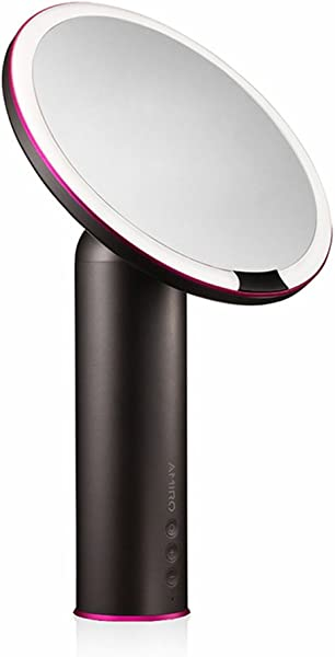 Amiro Smart Lighted Makeup Mirror With Natural Daylight LED Lights Motion Sensor Adjustable Brightness Rechargeable And Cordless High Definition Countertop Vanity Mirror Black