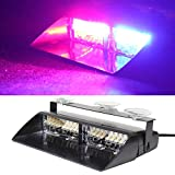 YHAAVALE RED&BLUE 16 LED Emergency Strobe Flash Light 12V High Intensity LED Windshield Warming Light Emergency Vehicle Dash Warming Strobe Flash Light For All Car/Truck
