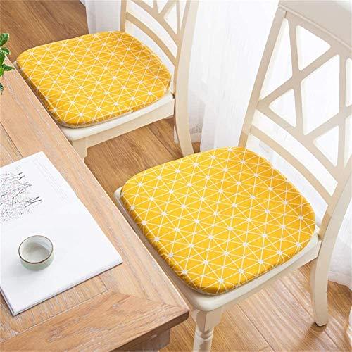 HYDD Coussins de siège de Chaise de Salle à Manger avec Attaches Pack de 4,Coussins de Chaise Amovibles Coussins de Bureau de Jardin en Lin en Coton (la Chaise n'est Pas Incluse) -42x40x3cm