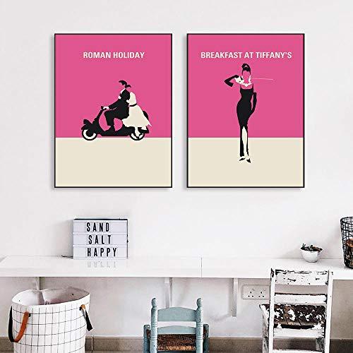 Audrey Hepburn Poster Vintage Movie Poster Pop Art Canvas Pintura Audrey Hepburn Cuadros Modern Living Room Wall Cuadros Decor 40x60cmx2 Sin Marco