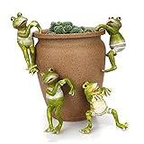 ThreeCat Sembrador de macetas Decoraciones de Perchas, Ranas Macetas de Resina Creativo 3D Craft Figuras de Ranas Escalada Adornos de Animales Decoración para Escritorio de Oficina Jardín 4 pcs