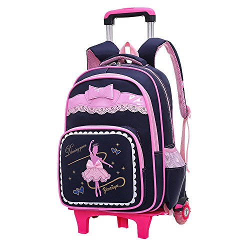 Fanci Bow-Knot Dancing Girl Waterproof Elementary Trolley Rolling School Backpack Book Bag for Primary Girls Wheeled Backpack Carry On Luggage with Two Wheels