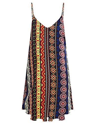 Romwe Women's Summer Spaghetti Strap Sundress Sleeveless Beach Slip Dress Tribal Multi S