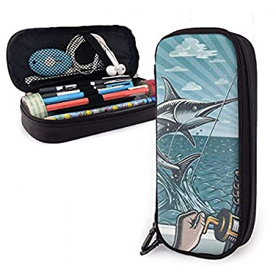 Vintage Deep Sea Fishing Catching Swordfish Pencil Case for Boys and Girls Large Pencil Pouch Holder Pen Case for Student College School Supplies & Office