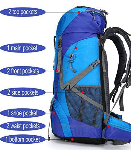 51wOwEzD6qL - Doshwin Mochila Grande Camping Trekking Senderismo Viaje para Mujer Hombre / 70L