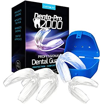 TMJ Mouth Guard Nighttime Professional Night Guards for Grinding Teeth Stops Clenching Bruxism TMJ Bite Guard for Men Women Children - 4 Dental Guards  2 sz  1 Anti-Bacterial Case & Instructions