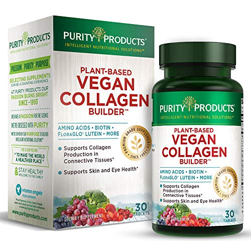 Vegan Collagen Builder - Organic Whole Foods Fruits + Veg, Silica, Lutein, Vitamin C, Biotin, Grape Seed - Amino Acids...
