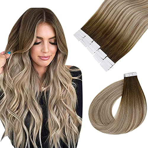 Easyouth Echthaar Ombre Tape on Extensions Farbe Darker Brown Mix Ash Brown and Medium Blonde 18 Zoll 80g 40Pcs Pro Paket Adhensive on Haar