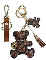 AOIKARA キーホルダー バッグチャーム タッセル キーチェーン キーリング クマ 猫チャーム 可愛い飾り プレゼント (セットA[ブラウン熊+Keychains])