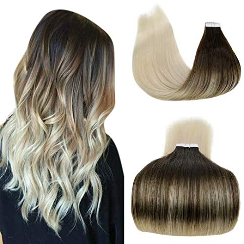 LaaVoo 18Pulgada Straight Tape on Hair Extension Pelo Castano Balayage Platino Colores #4/60 Remi Extensiones de Pelo Natural Cortina Invisible Skin Weft 50GR/20PCS