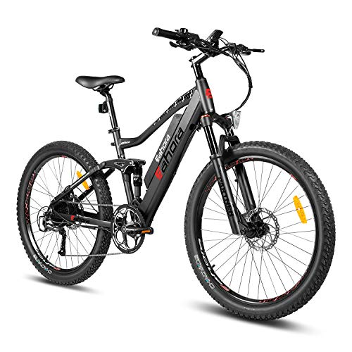eAhora AM100 27.5 Inch 48V Mountain Electric Bicycle Dual Hydraulic Brakes Electric Bikes for Adults, Air Full Suspension 350W EBikes with 10.4Ah Removable Lithium Battery, Recharge Tech, 9-Speed Gear