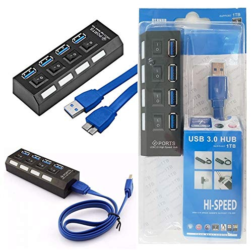 Hub Usb 3.0 4 Portas 5.0 Gbps Hi-Speed Com Switch On/Off Led Indicador