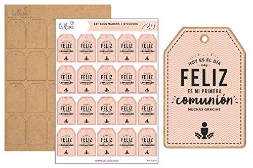 LA LLUNA ALWAYS CREATING Kit de 20 Etiquetas MI Primera COMUNIÓN con Tag de Madera para Comunión Color Rosa