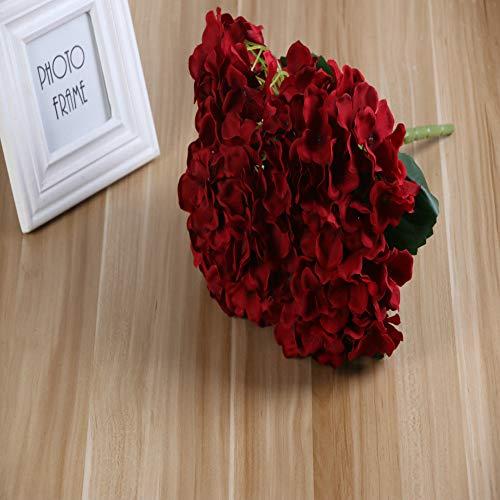 Jun7L 5-Köpfe künstliche Hortensie Seide Blume Blumenstrauß Hochzeit Dekor - 33X35CM