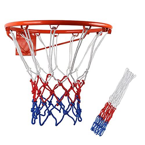 SacJkt Rete Da Basket Professionale, Rete Per Canestro Basket, 2 Pezzi Rete Da Canestro Da Basket In Poliestere Adatta Per Interni o Esterni Standard (12 Anelli)