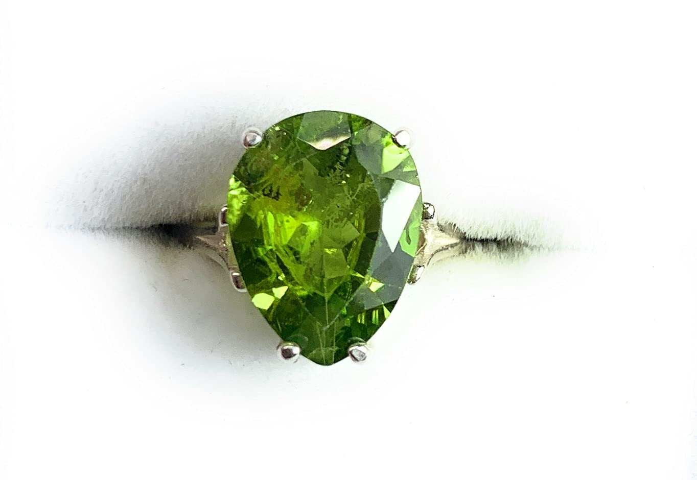 Ranking TOP1 Certified Peridot Ring 6.38 Carat Silver Natural Solita Sterling Be super welcome