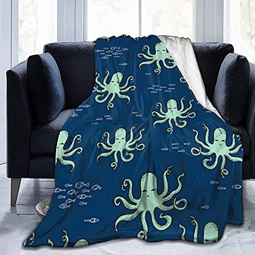 Sea Ocean Funny Octopus-Flanell Fleecedecke Superweiche,gemütliche,warme Decke Microfleece-Decke für das Heimbettsofa Stuhl,102X127Cm