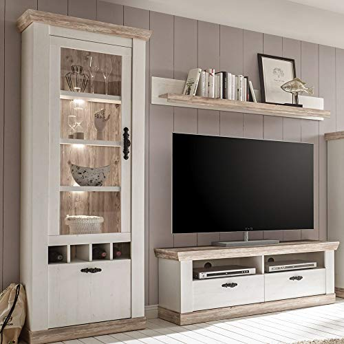 TV Wohnwand im Landhausstil mit Vitrine, Lowboard Wandregal, Pinie weiß und Oslo Nb, inkl. LED, B x H x T ca.: 215 x 201 x 44 cm