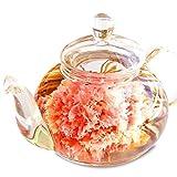 プレゼント 誕生日 ギフト 花咲くお茶 カーネーション茶 工芸茶10種類&ティーポット 優雅セット お茶&茶器セット