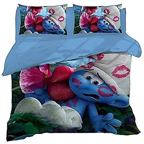 MYLZZ Juego de ropa de cama de microfibra de Animations The Smurfs, 1 funda nórdica y 2 fundas de...