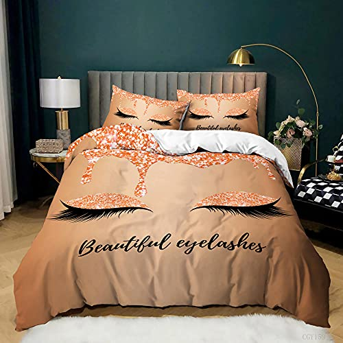 """King Duvet Cover King Size Duvet Cover Coloured Eyeshadow Black Lashes Soft Queen Duvet Cover Set 3 Pieces with Zipper Closure, 1 Duvet Cover and 2 Pillow Shams,King 104""""X90"""""""
