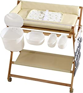 LXLA Foldable Portable Baby Changing Table for Small Spaces  Solid Wood Frame  amp  Waterproof Desktop