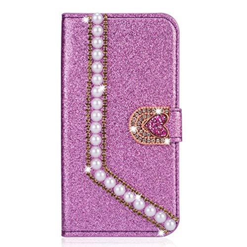 Miagon Hülle Glitzer für Huawei P8 Lite 2017,Luxus Diamant Strass Perle Herz PU Leder Handyhülle Ständer Funktion Schutzhülle Brieftasche Cover,Lila